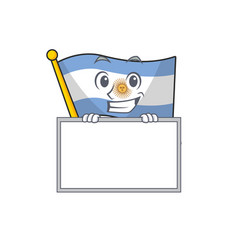 Grinning with board flag argentina cartoon the vector
