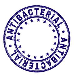 Grunge textured antibacterial round stamp seal vector