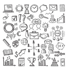 hand drawn business icon set doodles vector image