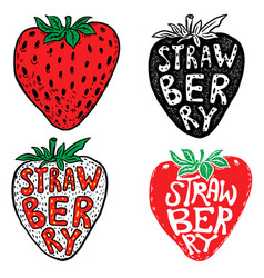 hand drawn fresh strawberry labels isolated on vector image