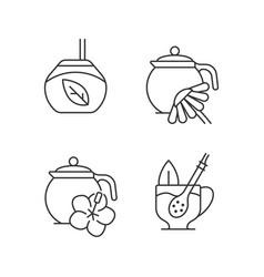 Herbal tea linear icons set vector
