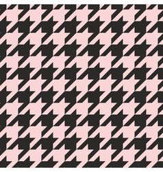 Houndstooth tile pastel pink and black pattern vector image