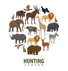 Hunting season poster wild animals vector