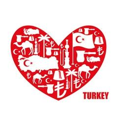 I love turkey sign heart traditional turkish vector