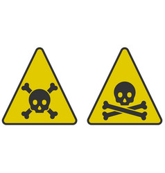 Icons of danger - a skull with bones in a triangle vector