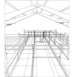 Industrial building wireframe for abstract vector