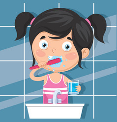 kid brushing teeth vector image
