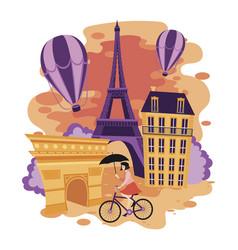 landscape paris cartoon vector image