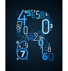 Letter R font from numbers vector