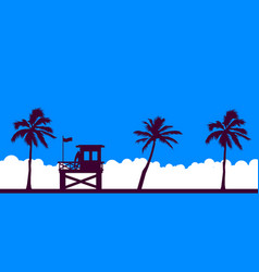 Lifeguard station on a beach with palm on a blue vector