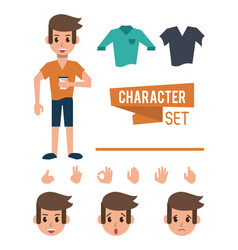 man character cartoon vector image