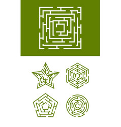 maze collection round square and star forms of vector image