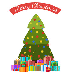 merry christmas poster decoated tree and presents vector image