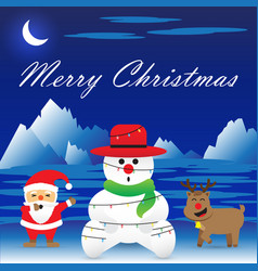 merry christmas - snowman is bound by christmas vector image