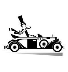 mustache man drives a retro car isolated vector image