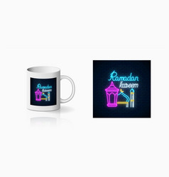 Neon ramadan islam holy month symbol for cup vector