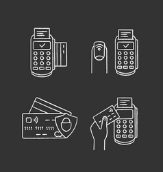 nfc payment chalk icons set vector image