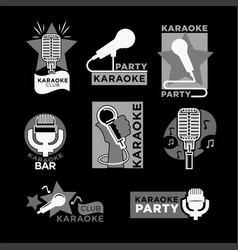 night karaoke club isolated monochrome promo vector image