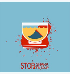 No blood shark finning soup poster vector image