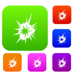 nucleate explosion set color collection vector image vector image