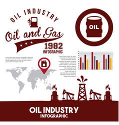 oil industry infographic gas pump map information vector image