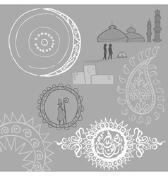 Oriental patterns circles cucumber tower people vector image vector image