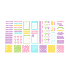 Pastel stickers flat set vector