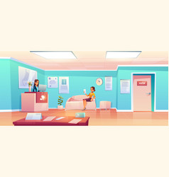 patient in hospital waiting room woman in clinic vector image