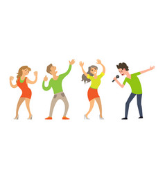 people dancing singing character artist vector image