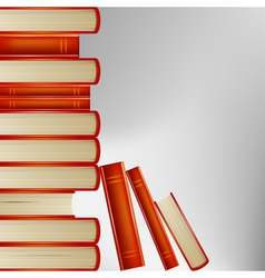 Pile books in an orange cover on gray background vector