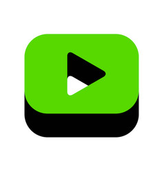 Play button sign green 3d icon with black vector