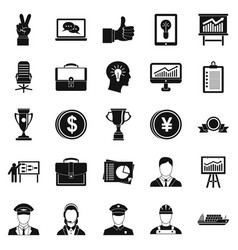 Principal icons set simple style vector