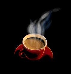 red cup of coffee with smoke vector image
