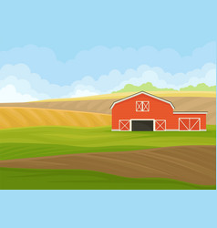 Red wooden shed with garage in field vector