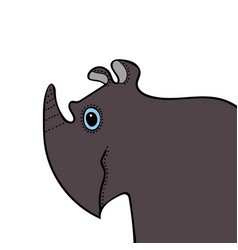 Rhino cute funny cartoon head vector