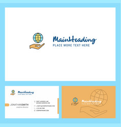 Safe world logo design with tagline front and vector