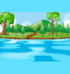 scene with river and hills vector image