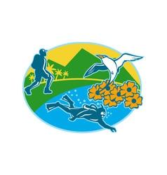 Scuba Diver Hiker Island Tropicbird Flowers Retro vector