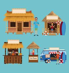 Set beach kiosk vector