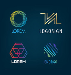 Set of abstract logos isolated on dark vector