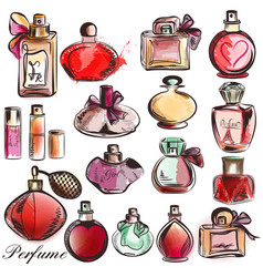 Set of different perfumes elegant style vector
