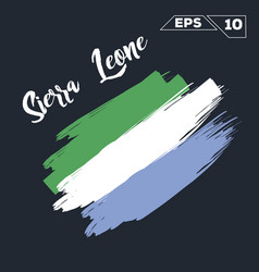 Sierra leone flag brush strokes painted vector