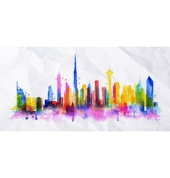 Silhouette overlay city Dubai vector