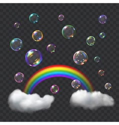 Soap bubbles and rainbow vector