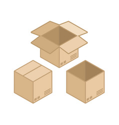 square cardboard box icon vector image