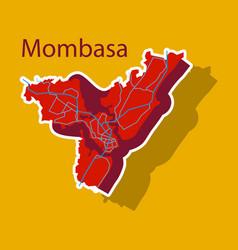 Sticker line art design - mombasa city map vector