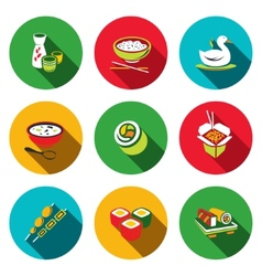 Sushi flat icons set vector