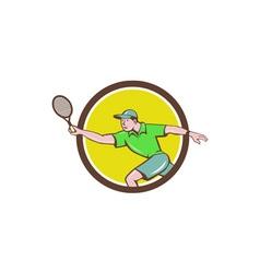 Tennis Player Racquet Forehand Circle Cartoon vector