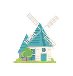 traditional windmill building ecological vector image