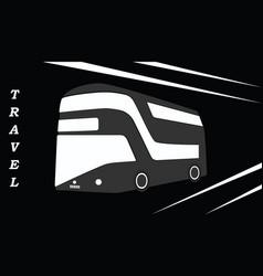 travel passenger bus - black - white background vector image